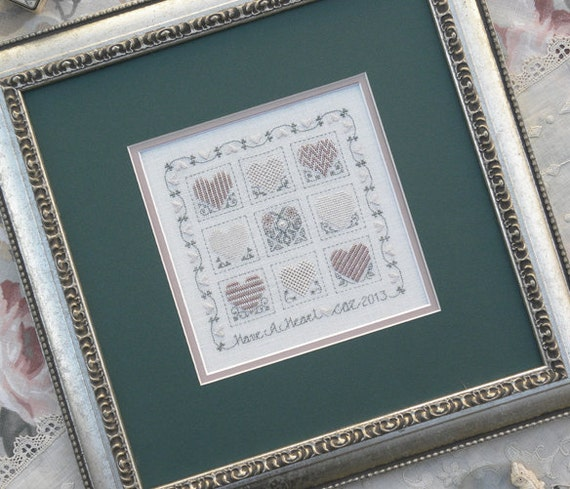 Have a Heart - Cross Stitch Pattern by The DRAWN THREAD Sampler - Valentine - Hearts