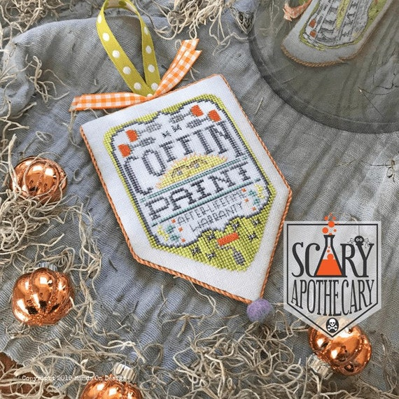 Coffin Paint - Cross Stitch Pattern by HANDS ON DESIGN - Scary Apothecary Series - Halloween Banner
