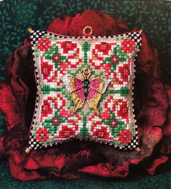 Christmas Butterfly Ornament - Cross Stitch Pattern by JUST NAN - Limited Edition - Includes Butterfly Charm!