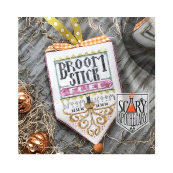 Broom Stick Fuel - Cross Stitch Pattern by HANDS ON DESIGN - Scary Apothecary Series - Halloween Banner