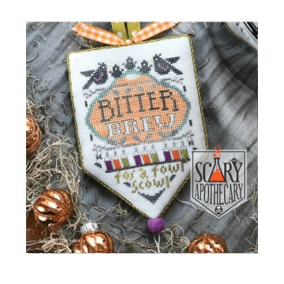 Bitter Brew - Cross Stitch Pattern by HANDS ON DESIGN - Scary Apothecary Series - Halloween Banner - Crows