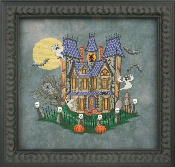 Murky Manor - Cross Stitch Pattern by GLENDON PLACE GP-146 - Halloween - Haunted House - Full Moon - Ghosts - Full Moon - Bats