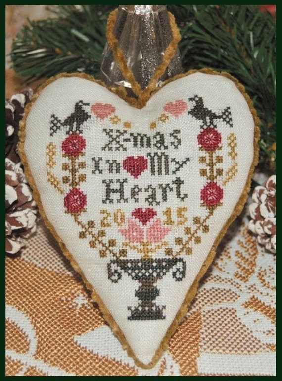 X-Mas In My Heart - Cross Stitch Kit by ABBY ROSE DESIGNS Christmas - Limited Edition - Ornament - Needlework Small