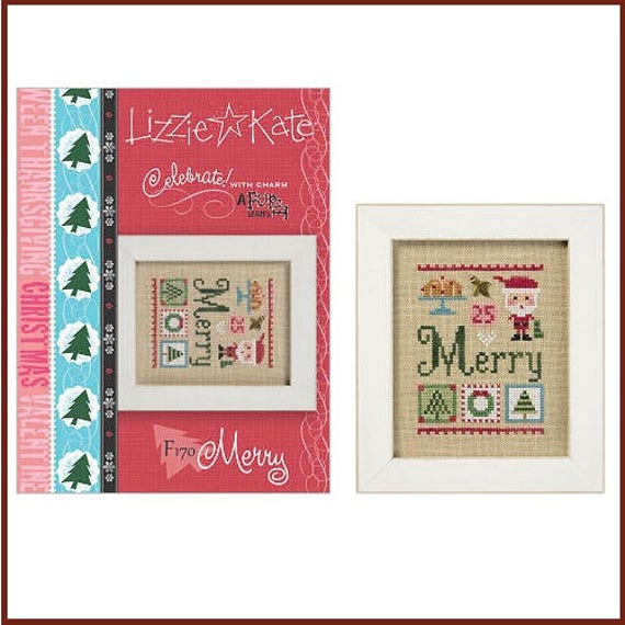 Merry - Cross Stitch Pattern by LIZZIE KATE Flip-It #170 - Includes Holly Charm - Christmas - Santa - Wreath - Tree - Plum Pudding