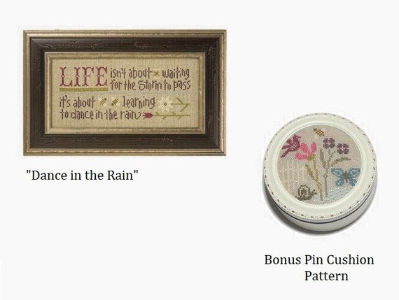 Dance in the Rain - Cross Stitch Kit by LIZZIE KATE  - Includes linen fabric and embellishments - Inspiration Boxer B41 - Sampler - Saying