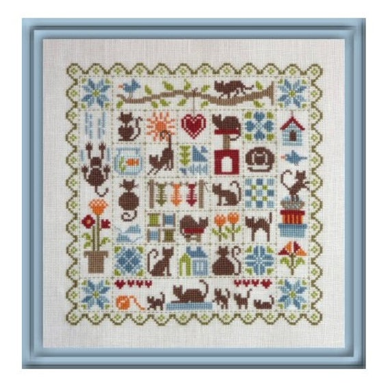 Patchwork aux Chats- Patchwork with Cats - Cross Stitch Pattern by JARDIN PRIVE Sampler of Cats