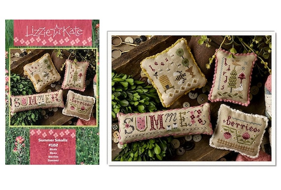 Summer Smalls - Cross Stitch Pattern by LIZZIE KATE - Includes the Ebmellishments - Bee Skep - Beehive - Berries - Ornaments - Pincushion