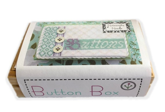 Button Box - Cross Stitch Kit by NOTEWORTHY NEEDLE Includes Linen, Threads, Wooden Card Box - Treasure Box - Needlework Smalls