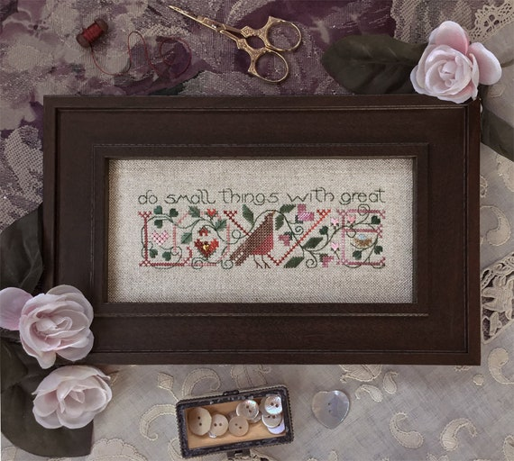 Small Things - Cross Stitch Pattern by The DRAWN THREAD Sampler - Do Small Things With Great Love - Flowers - Bird