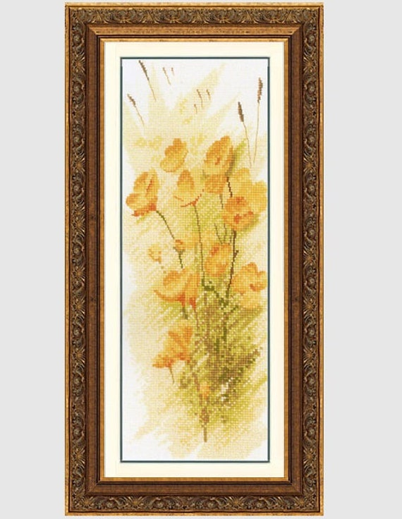 Buttercup Panel - Cross Stitch Pattern by HERITAGE CRAFTS - John Clayton - Flower Panels Series - Yellow Flowers