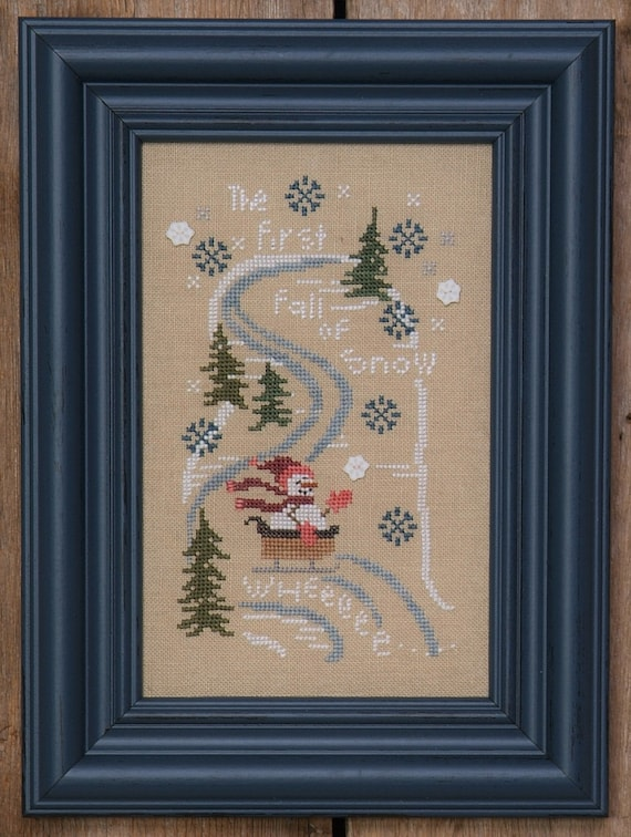 The First Fall of Snow - Cross Stitch Pattern by BENT CREEK - Winter - Snowman - Sledding - Winter Frost