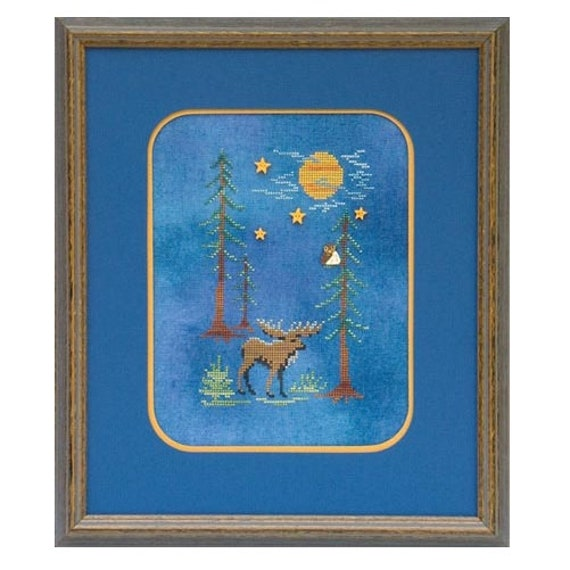 Moose by Moonlight - Cross Stitch Pattern by GLENDON PLACE GP-143 - Woodsy - Woods - Forest - Full Moon