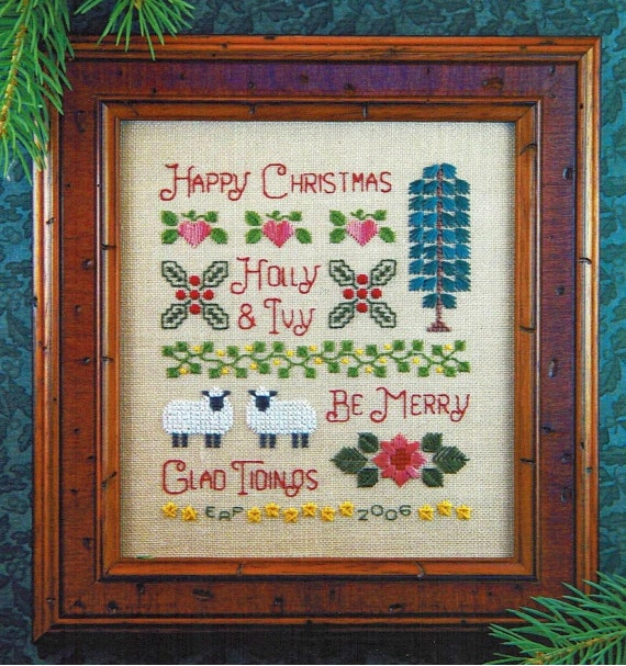 Holly & Ivy Sampler - Cross Stitch Pattern by ELIZABETH'S DESIGNS - Sampler - Christmas - Sheep - Be Merry - Happy Christmas - Glad Tidings