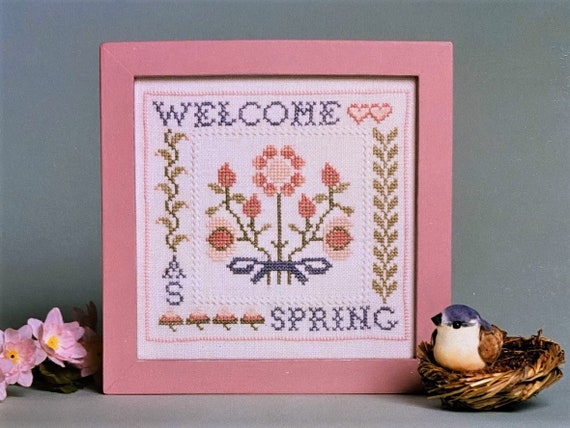 Welcome as Spring - Cross Stitch Pattern with Silk Threads by SCHOOLROOM SAMPLINGS Sampler - Flowers - Inclues Au Ver a Soi  Silks
