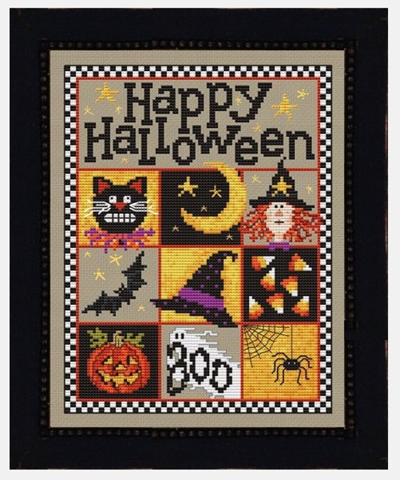 Happy Halloween - Cross Stitch Pattern by SUE HILLIS DESIGNS - Black Cat - Witch - Bat - Jack 'O Lantern - Boo - Spider
