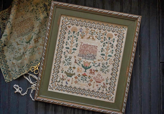 Elizabeth Sarah Oliver 1842 Sampler - Cross Stitch Pattern by PLUM STREET SAMPLERS - Reproduction