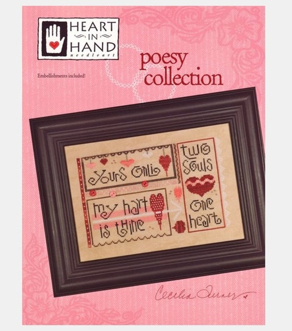 Poesy Collection - Cross Stitch Pattern HEART IN HAND Needleart - Includes the embellishments - Love Sampler - Wedding - Valentine - Hearts