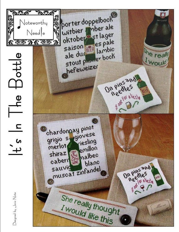 It's In the Bottle - Cross Stitch Sampler Pattern by NOTEWORTHY NEEDLE - Wine - Chardonnay - Merlot - Pinot - Shiraz - Beer - Porter - Ale