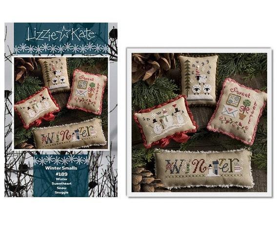 Winter Smalls - Cross Stitch Pattern by LIZZIE KATE - Includes Buttons - Snowman - Snowmen - Sheep - Needlework Smalls - Pincushion