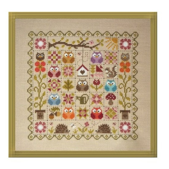 Patchwork aux Chouettes - Patchwork with Owls - Cross Stitch Pattern by JARDIN PRIVE Sampler of Owls, Hedgehogs, and Flowers
