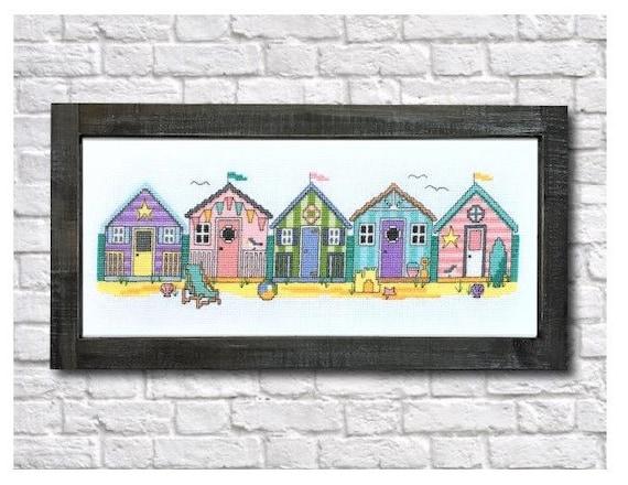 Little Beach Huts - Summer Cross Stitch Pattern Chart by TINY MODERNIST Cabana