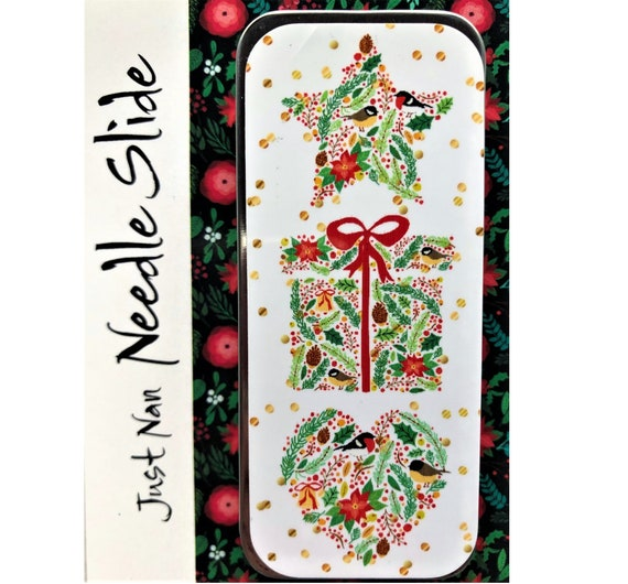 "Just Nan Needle Slide ""Birds, Berries, & Blooms"" - with Magnet - Christmas Needle Tin"