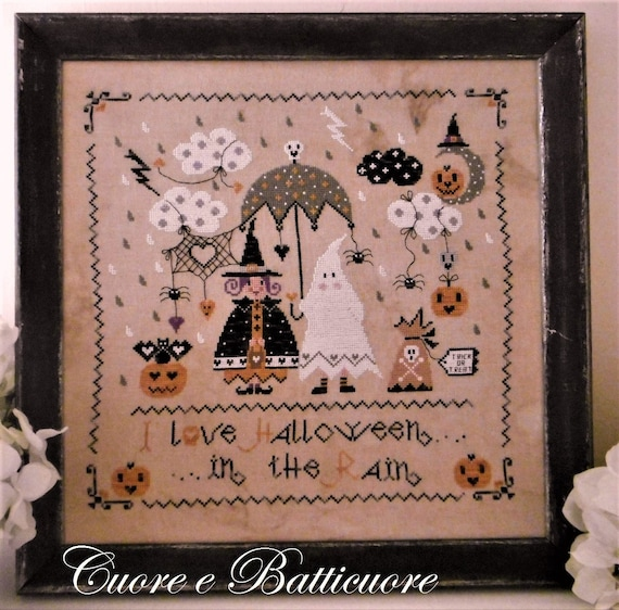 Halloween in the Rain - Cross Stitch Pattern by CUORE e BATTICUORE - Creazioni a Punto Croce - Witch - Ghost - Pumpkins - Jack o Lanterns