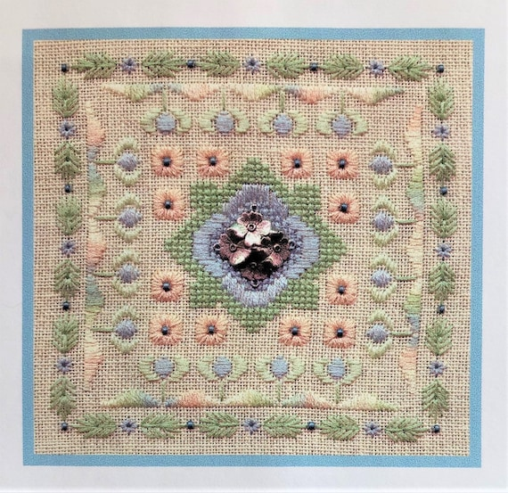 Flowers on the Square - Cross Stitch Pattern by ELIZABETH'S DESIGNS - Floral - Flowers & Friends Stitching Club Series