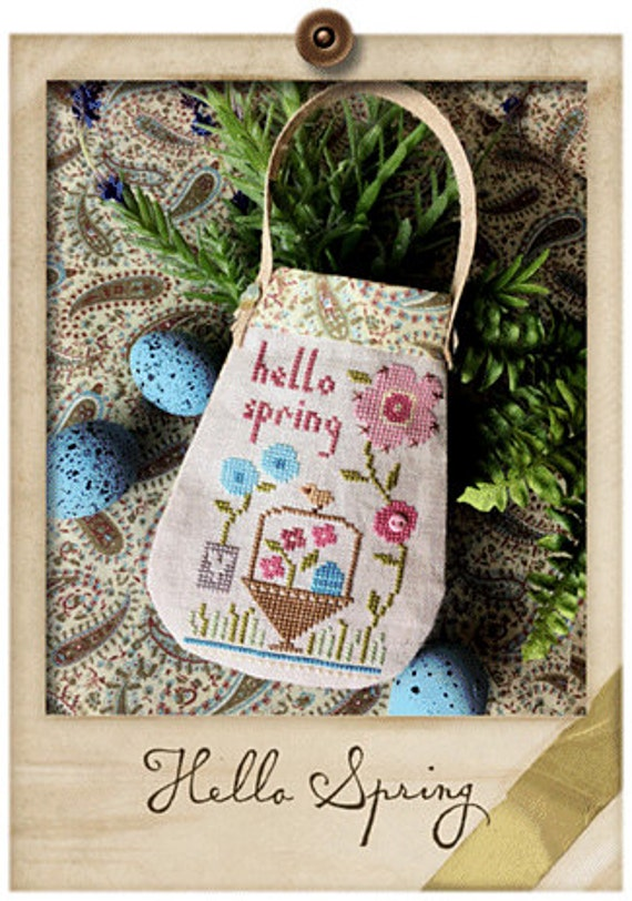 Hello Spring - Cross Stitch Kit by LIZZIE KATE Needlework Smalls - Flowers - Easter - Basket - Ornament - Pouch - Bag