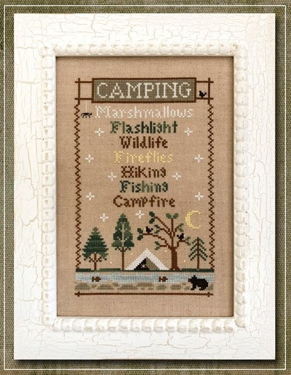 Camping Trip - Cross Stitch Pattern by COUNTRY COTTAGE NEEDLEWORKS Marshmallows - Wildlife - Campfire - Hiking - Flashlight - Fireflies