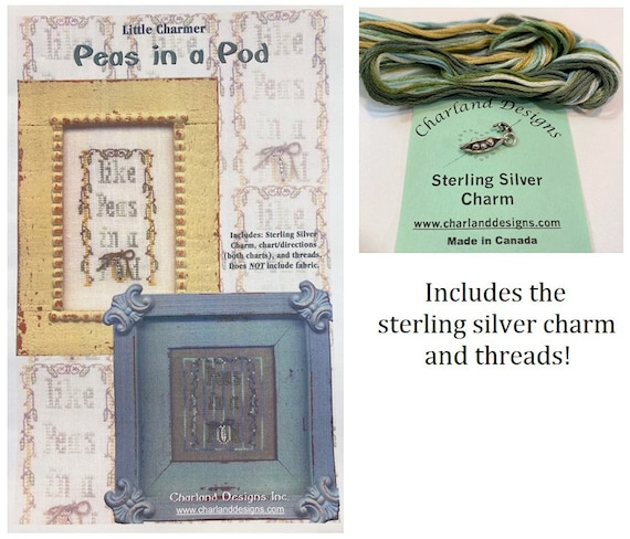 "CHARLAND DESIGNS ""Peas in a Pod"" Little Charmer Cross Stitch Kit - Includes Floss and Sterling Silver Pea Pod Charm - Out of Print"