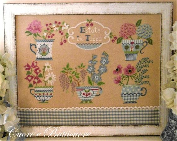 Estate in Tazza - Summer in the Cup - Cross Stitch Pattern by CUORE e BATTICUORE - Creazioni a Punto Croce - Floral Teacups - Flowers