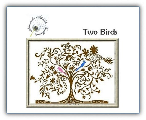 Two Birds Tree - Cross Stitch Pattern by by ALESSANDRA ADELAIDE NEEDLEWORKS