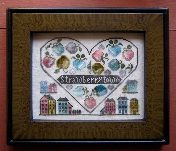 Strawberry Town - Cross Stitch Pattern by KATHY BARRICK - Sampler - Houses - Strawberries