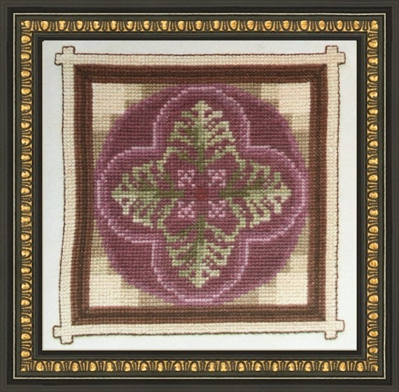Ceramic Tile IV - Cross Stitch Pattern by JEANETTE ARDERN Designs Flower A015