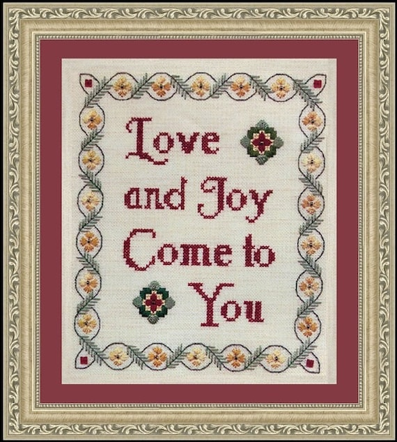 Love and Joy Come to You - Cross Stitch Kit by ELIZABETH'S DESIGNS - Christmas Sampler - Flowers & Friends Stitching Club Series