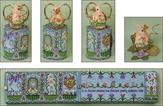 Spring Mouse Scissor Roll - Cross Stitch Pattern by JUST NAN - Includes Embellishments - Garden Flowers - Needlework Small - Dilly Mouse