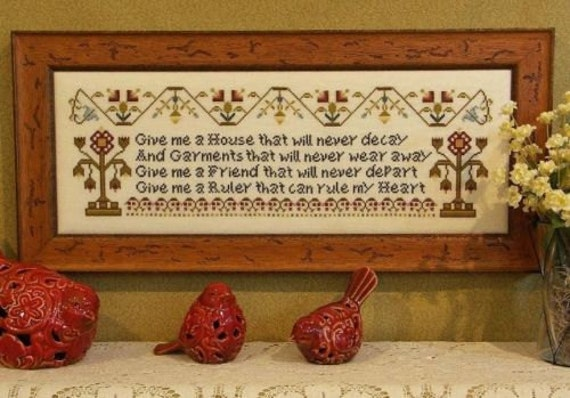 Give Me a Friend - Cross Stitch Pattern by ROSEWOOD MANOR Sampler