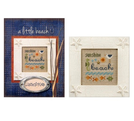 A Little Beach - Cross Stitch Kit by LIZZIE KATE #K69 Includes the linen and charm - Summer - Seashore - Fish - Seahorse - Turtle - Seagull