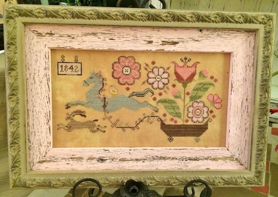 Spring Delivery - Cross Stitch Pattern by PLUM STREET SAMPLERS Flowers - Horse - Flowers