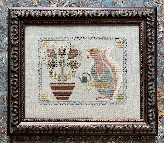 Spring Squirrel - Cross Stitch Pattern by THE BLACKBERRY RABBIT - Sampler