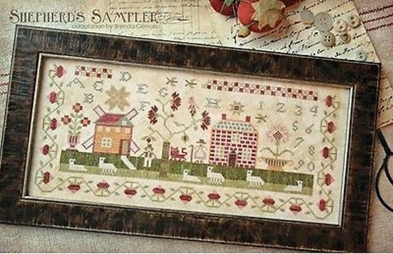 A Shepherd's Sampler - Cross Stitch Pattern by With Thy Needle & Thread - Country Stitches - Sampler - Sheep - Windmill - Brick House