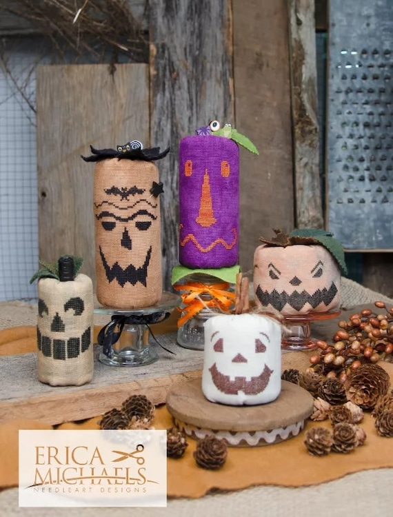 Stingy Jack & Friends - Cross Stitch Pattern by ERICA MICHAELS - Halloween - Jack O Lantern - Pumpkins - Needlework Smalls - Ornament