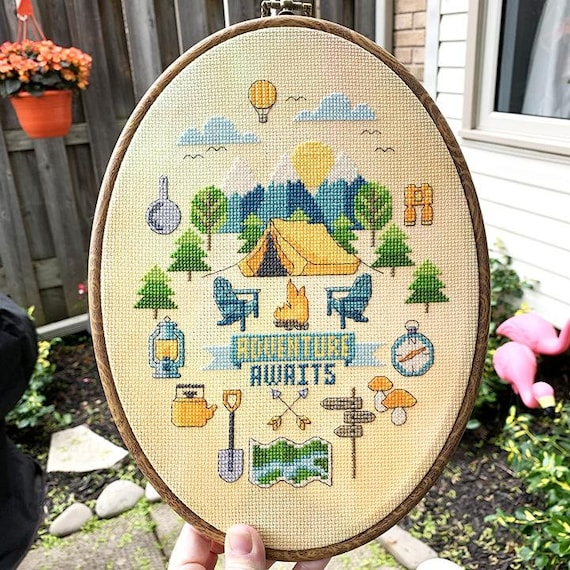 Adventure Awaits - Cross Stitch Pattern by Tiny Modernist - Camping - Tenting - Tent - Camp Fire - Summer