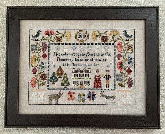 The Color of Winter - Cross Stitch Pattern by THE BLACKBERRY RABBIT - Sampler - Flowers