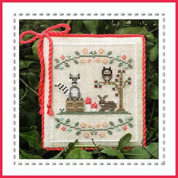 Welcome to the Forest Part 3:  Forest Raccoon and Friends - Cross Stitch Pattern by COUNTRY COTTAGE NEEDLEWORKS Series - Owl - Bunny Rabbit