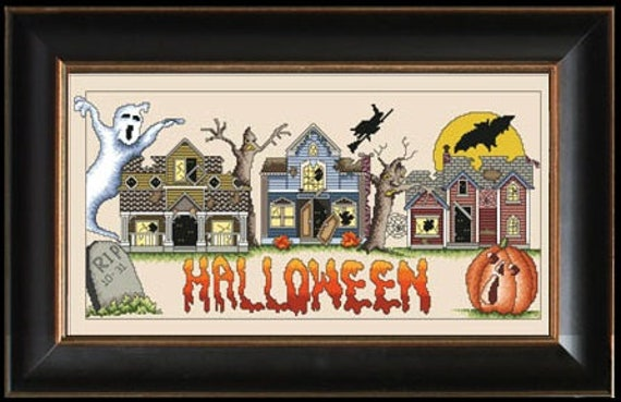 Halloweentown - Cross Stitch Pattern by VICKERY COLLECTION Haunted House - Flying Witch - Ghost - Tombstone - Jack 'o Lantern - Full Moon