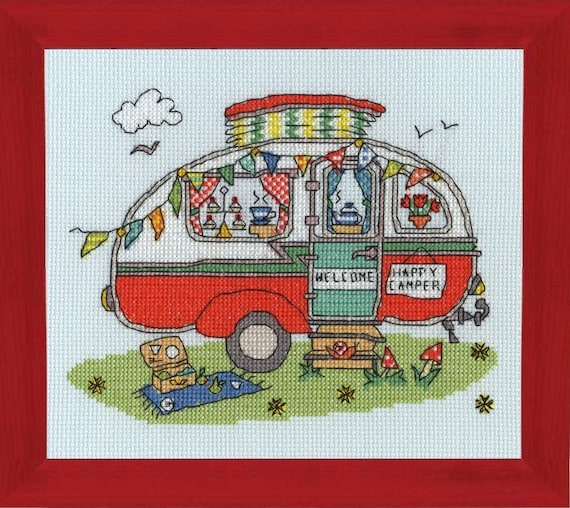 Sew Dinky Caravan - Cross Stitch Kit by BOTHY THREADS - Kate Bothy & Amanda Loverseed - Retro Red Camper - Camping - Happy Camper