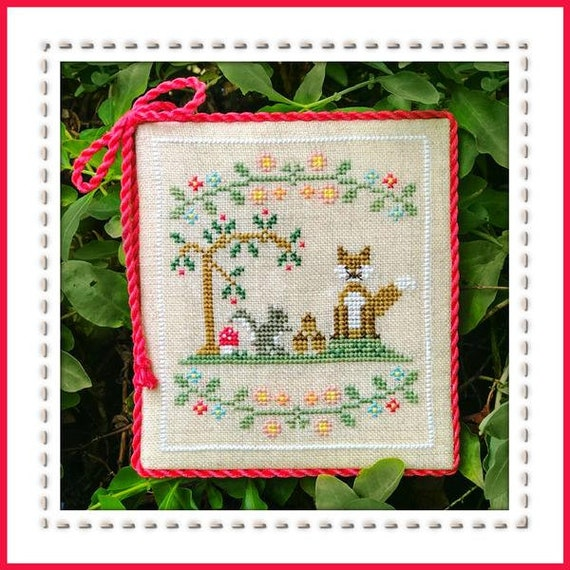 Welcome to the Forest Part 6:  Forest Fox and Friends - Cross Stitch Pattern by COUNTRY COTTAGE NEEDLEWORKS Series - Squirrel - Acorns