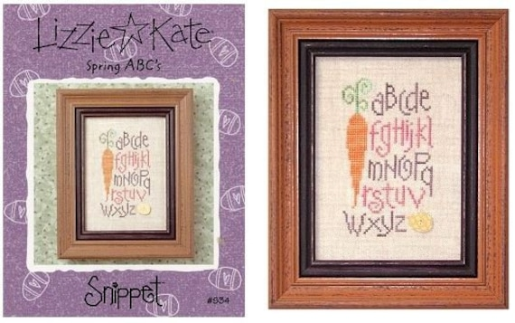 Spring ABC's - Cross Stitch Pattern by LIZZIE KATE - Easter Sampler - Carrot - Spring Sampler